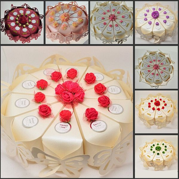 2015 New Wedding arrivo Centrotavola Torta a forma di caramelle di favore scatole di disegno della farfalla della carta della decorazione Candy Box Per decorazione di cerimonia nuziale Supplies