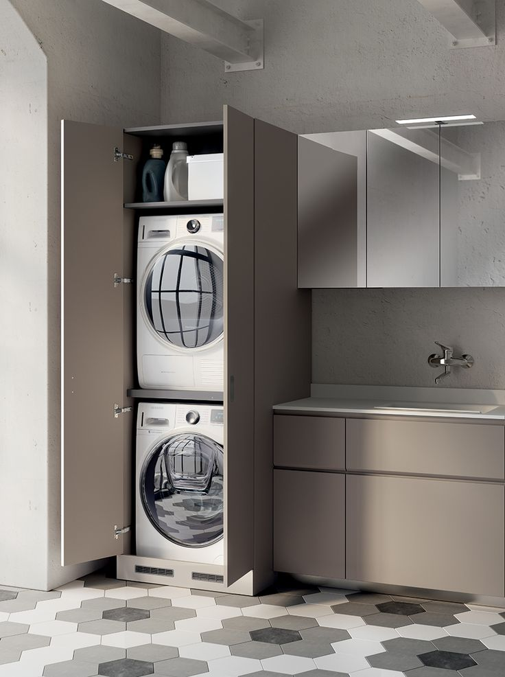 The 35 cm wide double hinged door tall unit, in Flint Grey Decorative Melamine finish, houses the washing machine and drier, which are arranged vertically in the unit: to keep everything neat and tidy and retain the look of clean and compact furnishings.
