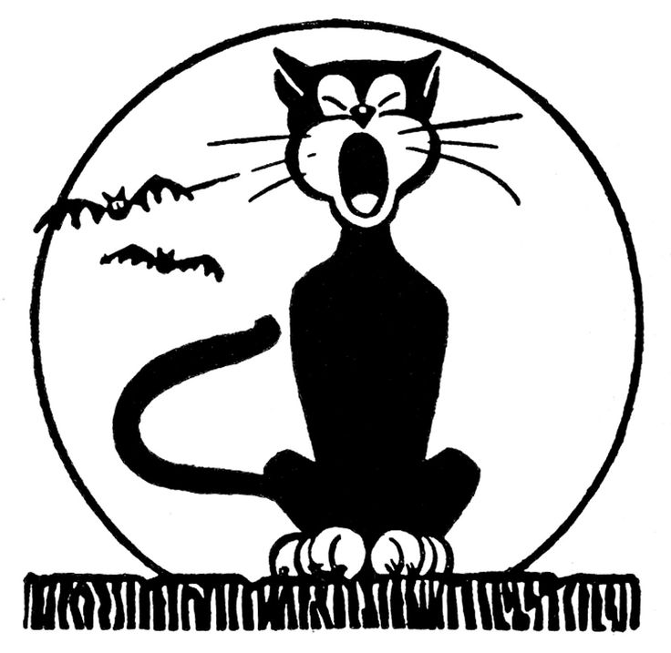 Retro Halloween Clip Art - Black Cat with Moon - The Graphics Fairy