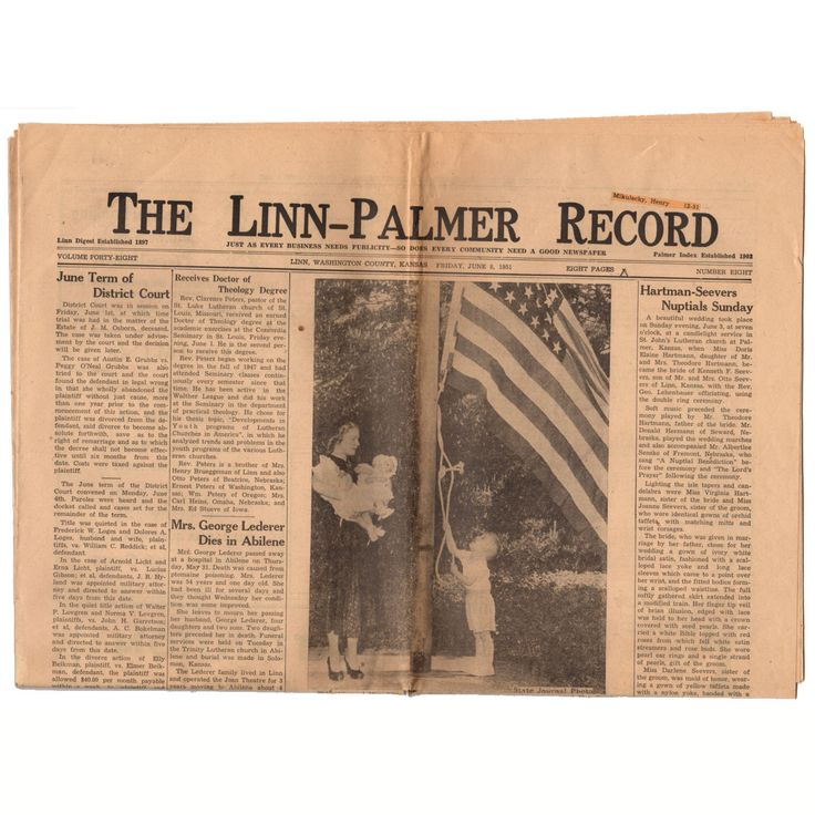 Vintage 1951 Linn and Palmer Kansas Newspaper Genealogy Research History June 8