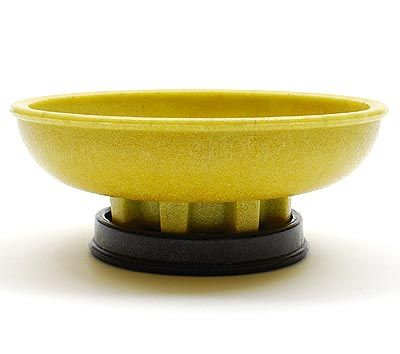 Yellow graniver cactusbowl on black graniver stand largest size design A.D.Copier 1930 executed by Glasfabriek Leerdam / the Netherlands