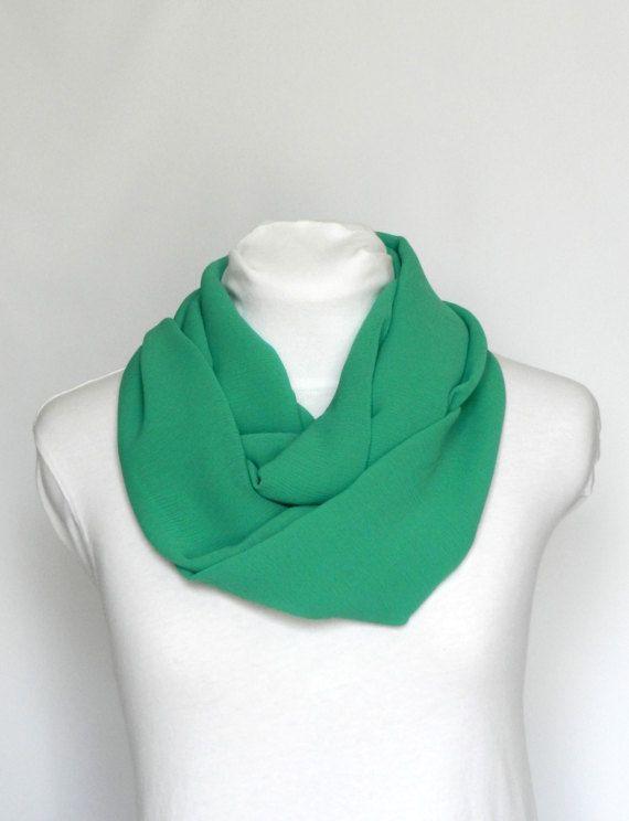 Green Infinity Scarf/ Chiffon Lightweight Scarf/ Fall Scarf/ Sheer Infinity Scarf/ Women's Scarf/ Loop Scarf/ St.Patrick's Day/ Spring Scarf
