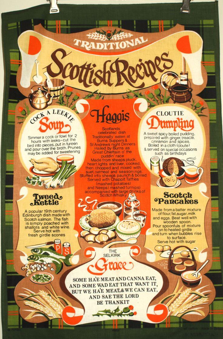 Traditional Scottish Recipes Tea Towel - Vintage Vista Haggis Tartain Scotland Tea Towel - New Old Stock - Made in Britain by FunkyKoala on Etsy