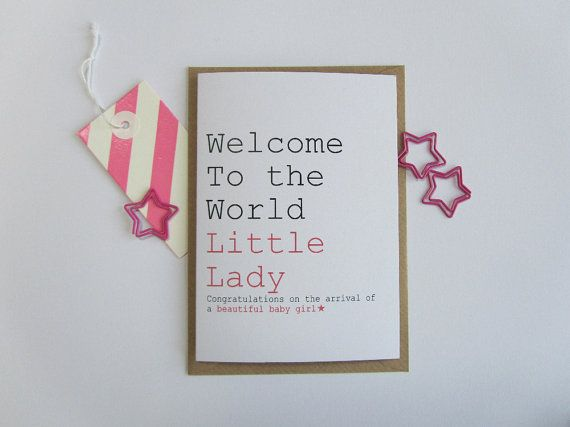 Recycled New Baby Girl card. Welcome to the by AlwaysSparkleArt