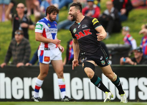 Josh Mansour Photos Photos - Josh Mansour of the Panthers celebrates after scoring a try during the round 26 NRL match between the Penrith Panthers and the Newcastle Knights at Pepper Stadium on September 5, 2015 in Sydney, Australia. - NRL Rd 26 - Panthers v Knights