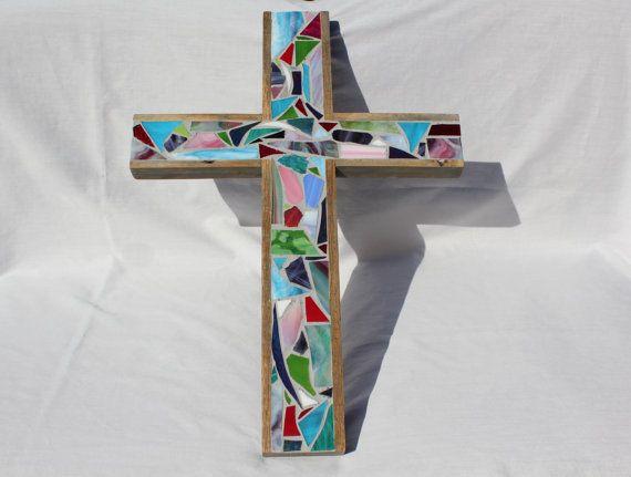Mosaic Wood Cross  Wall Art  Inspirational Wall Art  Rustic