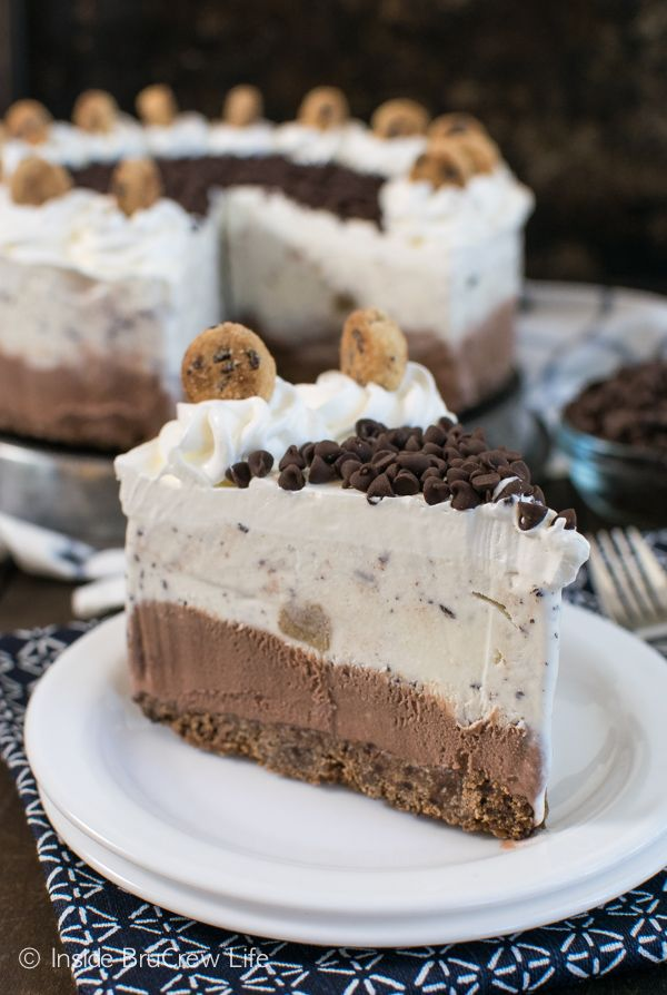 Layers of chocolate and cookie dough ice cream with a cookie crust makes a delicious and fun cake to enjoy any time of year.