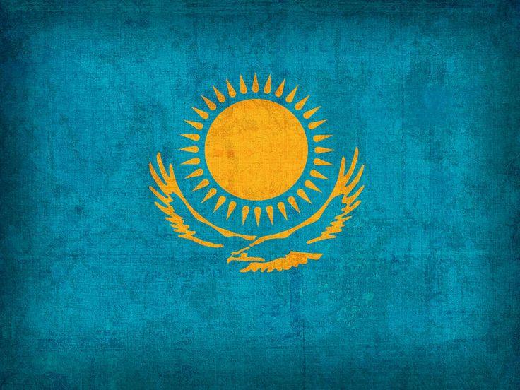 Kazakhstan Flag Vintage Distressed Finish Mixed Media