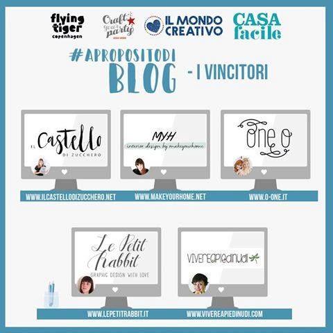 #ilmondocreativo | #apropositodiblog  Oggi vi sveliamo i 5 blog selezionati da CasaFacile attraverso il nostro contest #apropositodiblog... Complimenti a il castello di zucchero MakeYourHome One O Le Petit Rabbit Vivereapiedinudi!! :-)