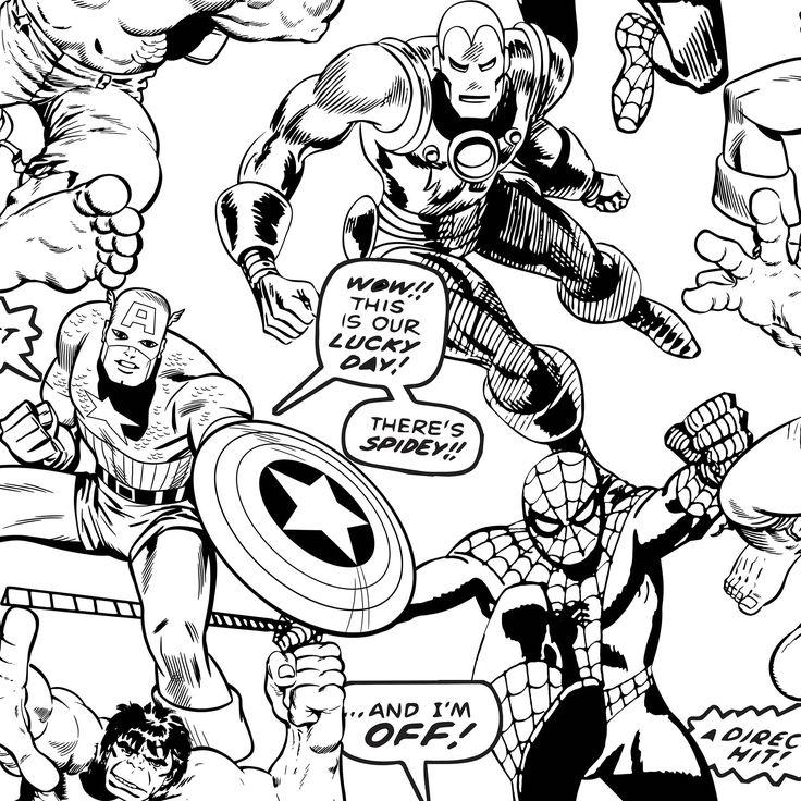 Marvel Colour Your Own Superheroes Black & White Kids ...