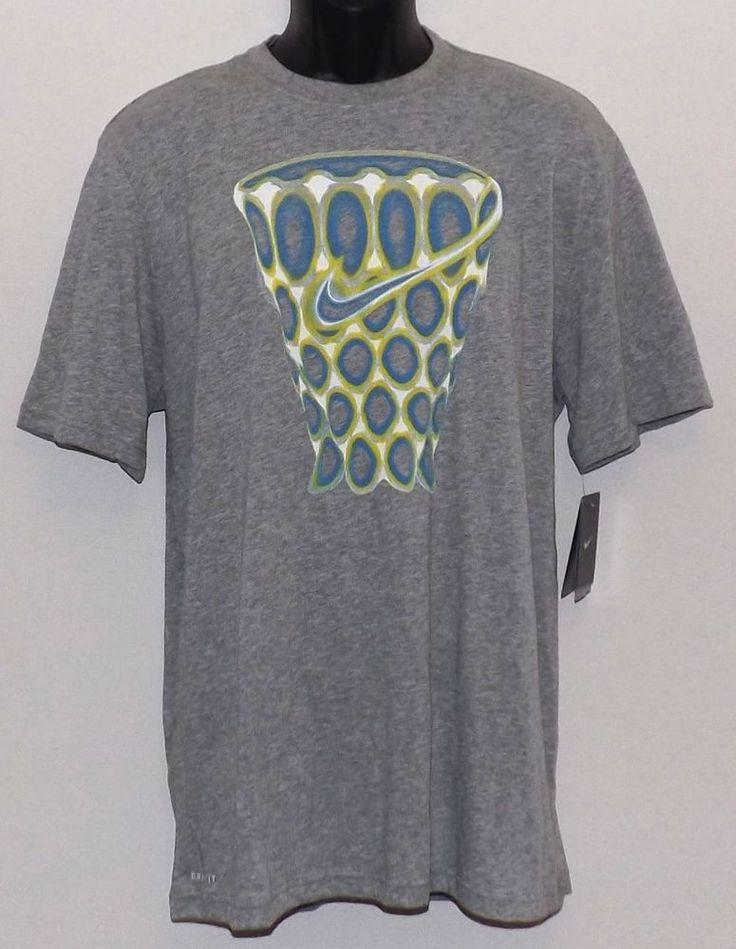 Men's Nike Glow Net Basketball Dri-fit T-Shirt Size XL Gray Blue White Volt NWT  #Nike #ShirtsTops