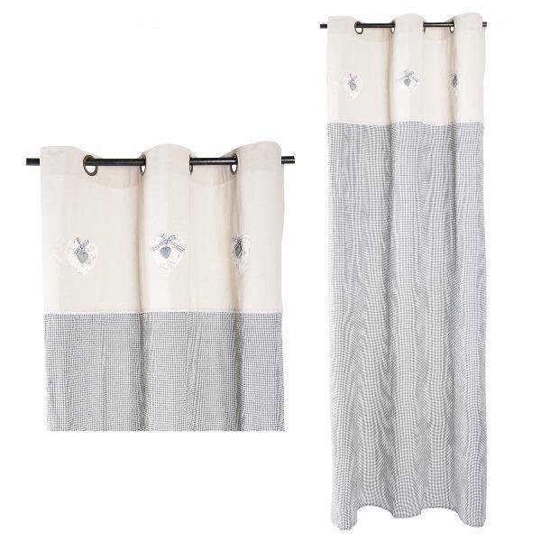 rideau long vichy noir et blanc clayre eef heart. Black Bedroom Furniture Sets. Home Design Ideas