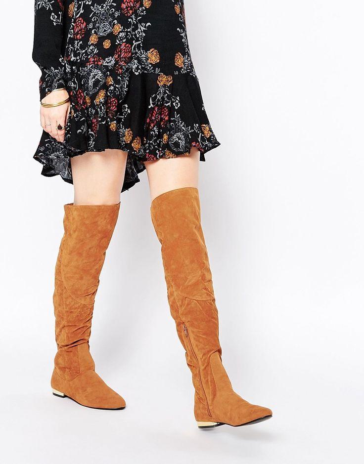 Image 1 ofDaisy Street Tan Flat Over The Knee Boots