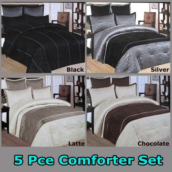 Add of touch of class to your bedroom with this designer style modern comforter set features embroidery detailings made from faux silk. #bed #bedspreads #coverlets #blankets #comforter #quilt #duvets #doonas #mattresstoppers #pillows #protectors #sheets #throws #underlays #valances