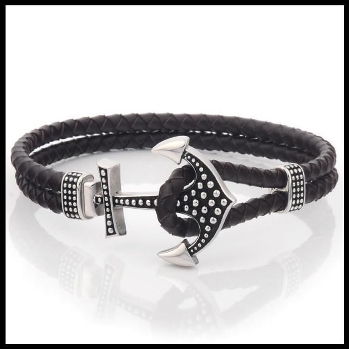 Anchor Bracelet for Men - Genuine Leather with Stainless Steel Anchor