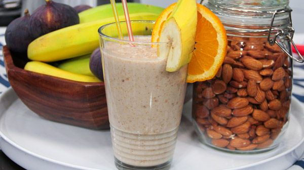 Fig, Almond and Banana Smoothie | Steven and Chris | Chock full of bone-building ingredients, Peggy K's FAB (Fig, Almond and Banana) smoothie trumps a regular glass of milk when it comes to bone health. 1 frozen banana, ripe 3/4 cup dried figs, re-hydrated in water (so they become plump)...