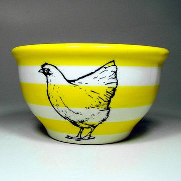 Chicken Bowl Medium Striped Ylw, $42, now featured on Fab.