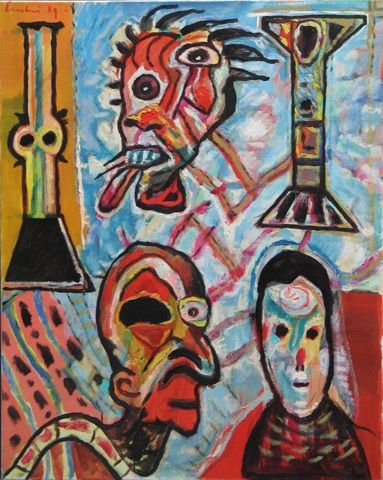 """Lucebert """"im Musentemple, (in the temple of the muses) oils on canvas, 100x80cm (1989)"""