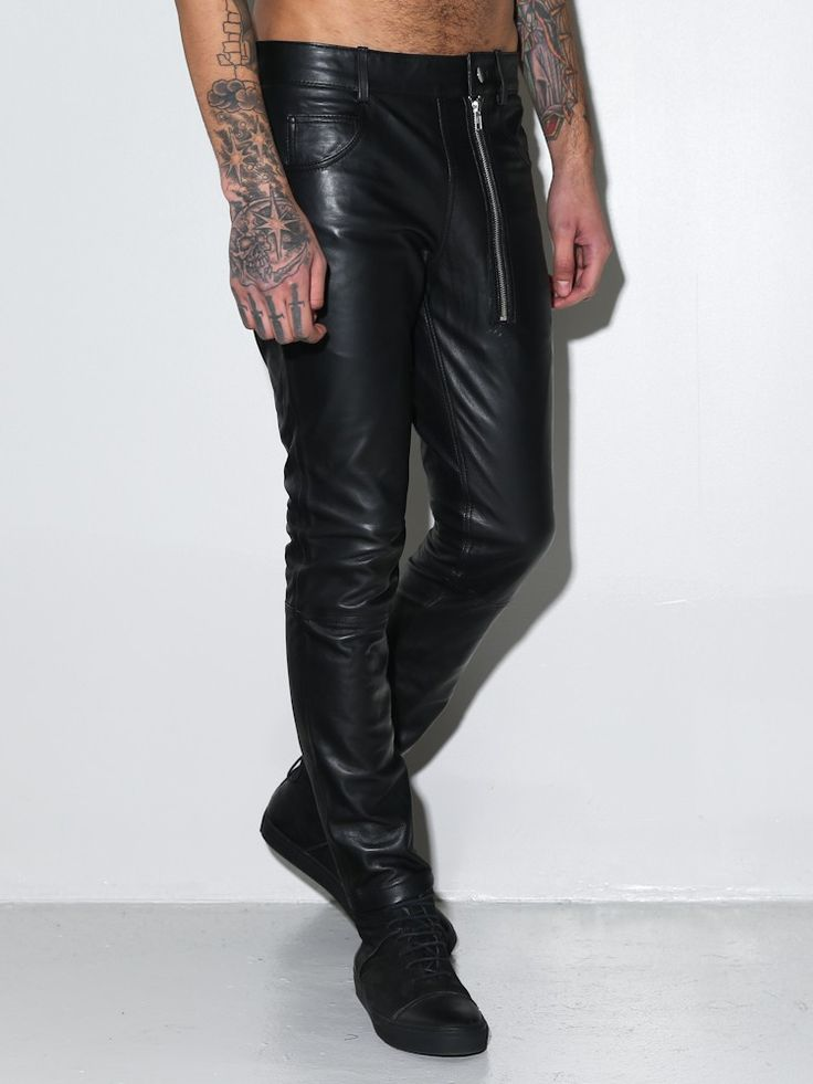 SOLD: NWT OakNYC Men's Slim Black Leather Pants size XS/S | Just the right amount of twist to be both classic and cool | Click through for more pics and details