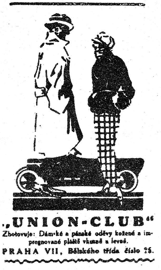 """""""UNION-CLUB"""" Zhotovuje: Dámské a pánské oděvy kožené a impregnované pláště vkusně a levně."""