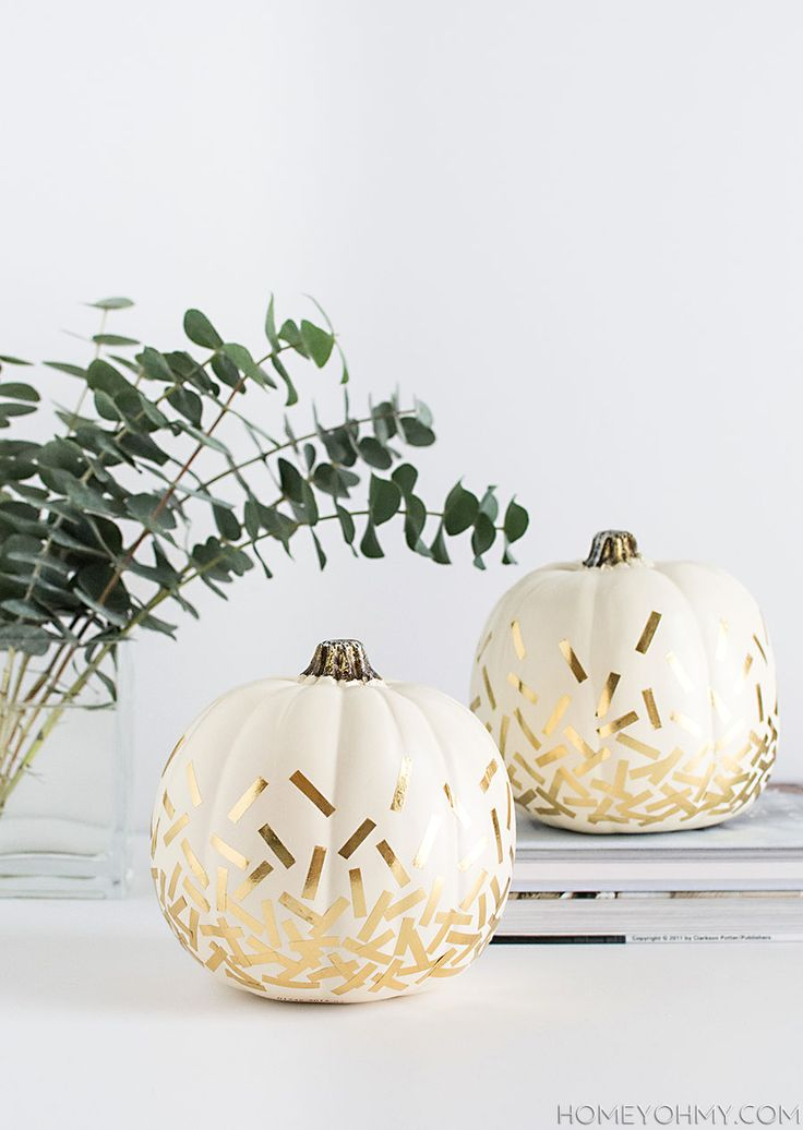 DIY Confetti Pumpkins- Don't settle for boring fall decor, make these modern, stylish pumpkin decor pieces!