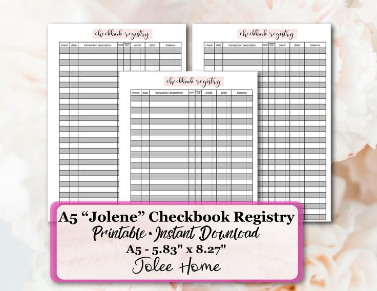 Excited to share the latest addition to my #etsy shop: A5 Check Register Insert, Checkbook Register Insert, Printable Check Register: Jolene A5 Check Registry Planner Insert