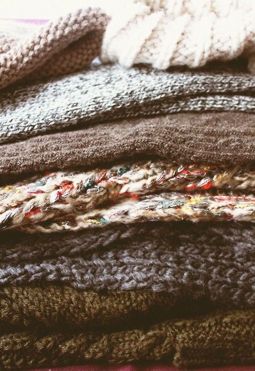 Knitted textures | Chunky wool jumpers | Stack| Imagining pullover made up of bit of each...
