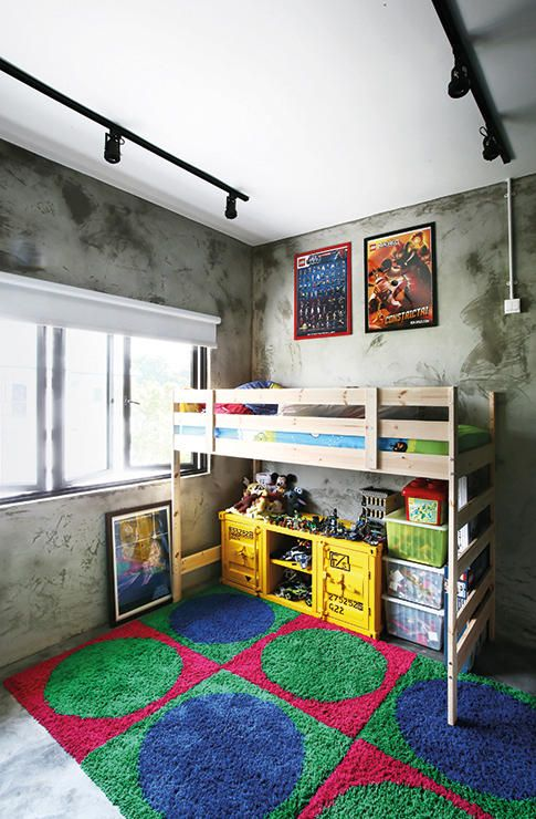 Kids bedroom cement finishes