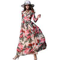 Женщина Весна Долго Dress Цветочным Принтом Красивая Шифон Dress с Эластичной Талией Чешский Стиль С Длинным Рукавом Женщина Dress