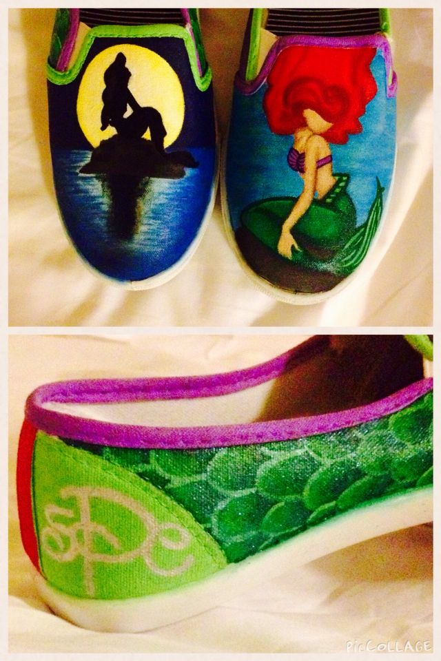 Little Mermaid hand painted shoes #disney #littlemermaid #ariel #shoes #handpaintedshoes