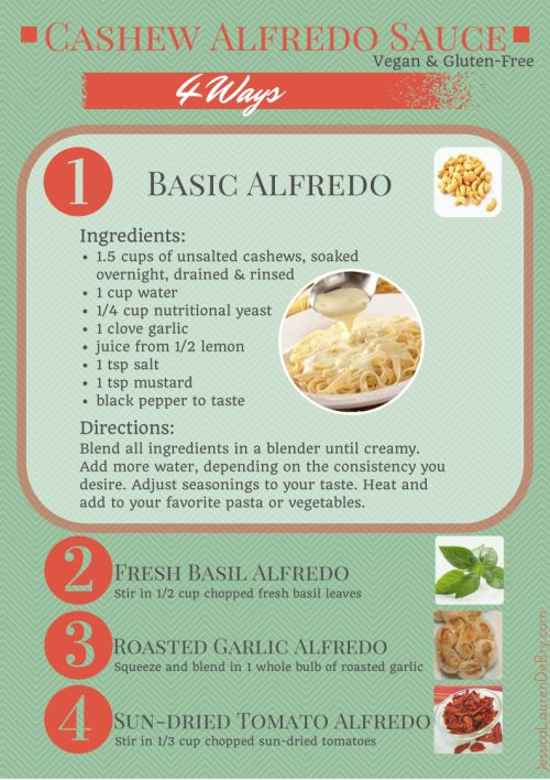 Dairy-free and #vegans alike will go nuts for this cashew alfredo sauce! This article will show you how to enjoy it not 1,  but 4 delicious ways! #recipe