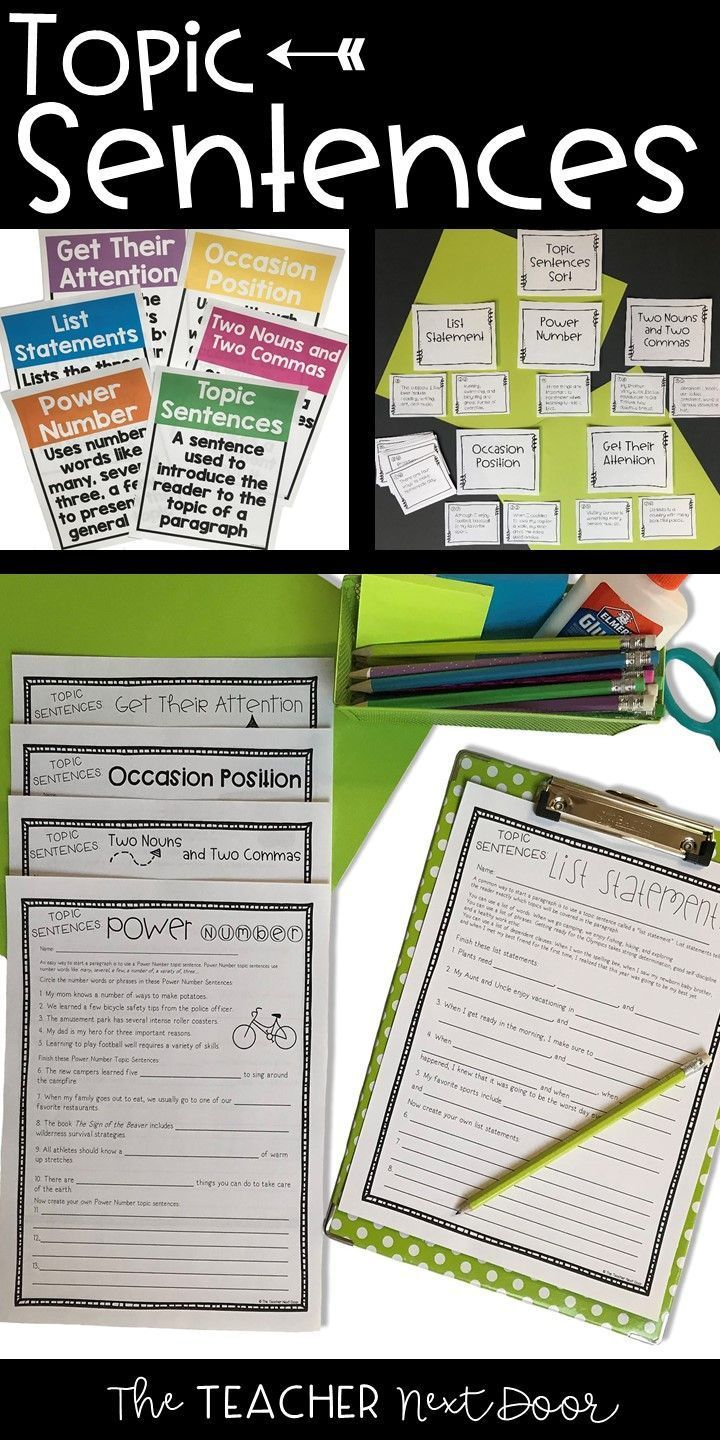 Topic Sentences: Paragraph Writing for 3rd - 6th Grade   Topic