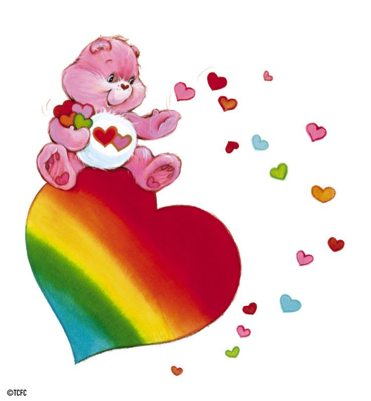 Care Bears: Love-a-Lot Bear on a Rainbow Heart