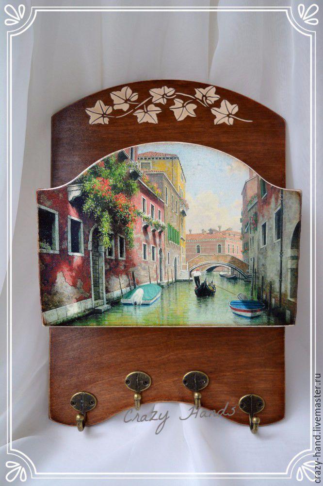 """Купить Ключница в технике декупаж """"Венеция"""" - коричневый, Ключница декупаж, ключница венеция, ключница вешалка"""