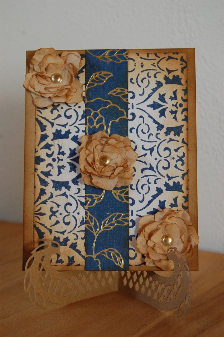 The flowers on this card are made of coffee filters and a little vintage photo distress ink