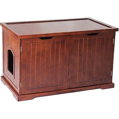 Animals Cats: Walnut Cat Hidden Litter Box Furniture Bench Enclosure Kitty Condo Shelter House -> BUY IT NOW ONLY: $180.83 on eBay!