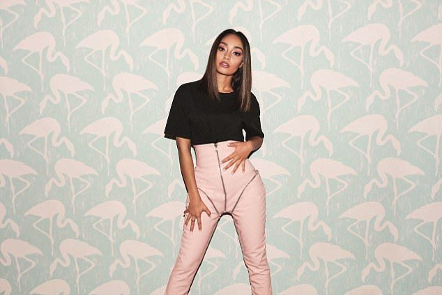 What a waist! Leigh-Anne showed off her famous midriff in high-waist latex trousers