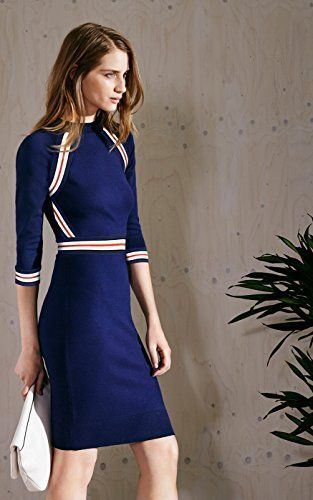 Karen Millen STRIPE STRETCH KNIT DRESS : Knitwear