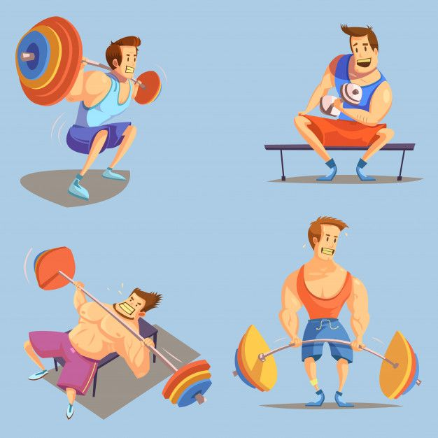 Gym Cartoon Icons Set With Weightlifting Free Vector Freepik Freevector Background Blue Background Man Blue Cartoon Icons Icon Set Cartoon Man