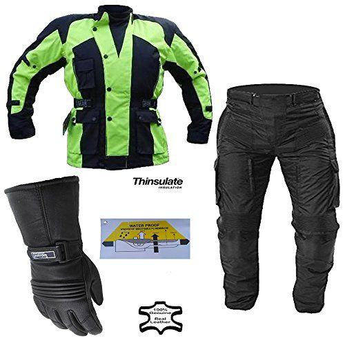 Hi Viz Motorradkombi Jacke Hose Handschuhe - Thermo & Wasserdicht - Protektoren