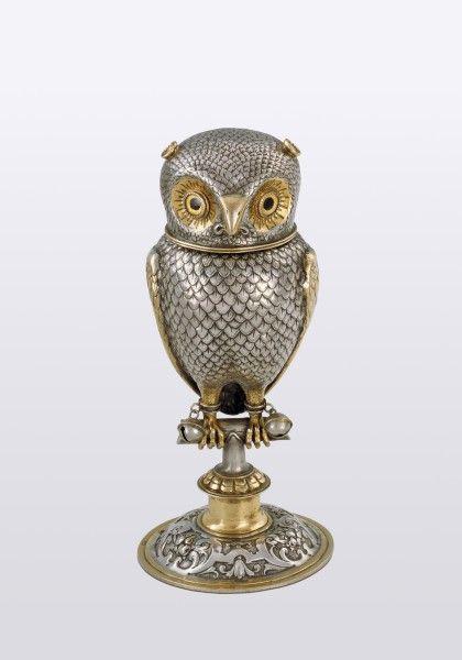 Parcel-gilt screech owl goblet by Jakob Christoph Mentzinger -Basle, Switzerland, c1600 (Historic Museum of Basle)