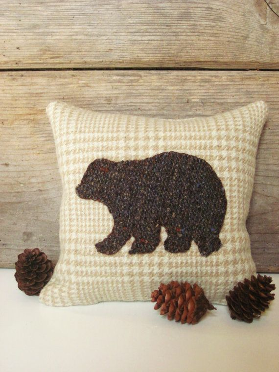 Decorative Balsam Pillow / Brown Bear Pillow / Wool by AwayUpNorth, $12.00