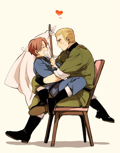 GerIta is another OTP of mine. It's adorable Germany is so awkward and Italy is so bold they complement each other perfectly.