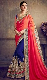 Orange and Navy Blue Color Silk Embroidered Half N Half Sari #indiasari #sareesonline Update your ethnic style with this orange and navy blue color silk embroidered half n half sari. This beautiful attire is showing some fantastic embroidery done with lace and resham work. Upon request we can make round front/back neck and short 6 inches sleeves regular saree blouse also. USD $ 149 (Around £ 103 & Euro 113)