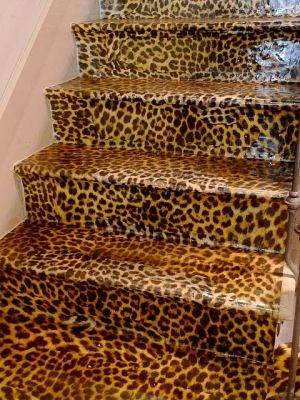 animal print stairs (maybe like stairs to a girls room or Somethin)