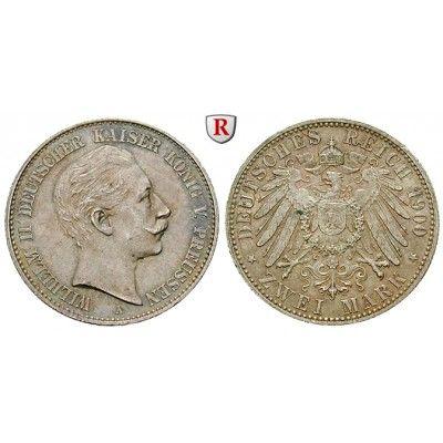 Deutsches Kaiserreich, Preussen, Wilhelm II., 2 Mark 1900, A, f.st, J. 102: Wilhelm II. 1888-1918. 2 Mark 1900 A. J. 102; fast… #coins