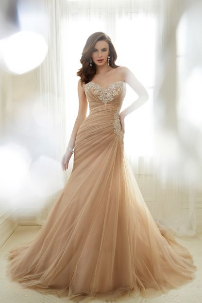 Try something different with a dusty peach wedding gown: http://www.stylemepretty.com/lookbook/designer/sophia-tolli/spring-2017/ #sponsored