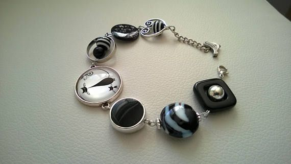FREE SHIPPING JEWELRY Black beads bracelet Black asymmetric