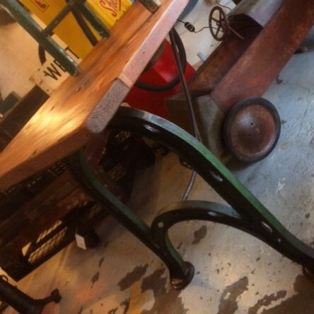 Beautiful dining table featuring a reclaimed Oregon wood top and green curved cast iron legs... H775mm, L2120mm, W690mm