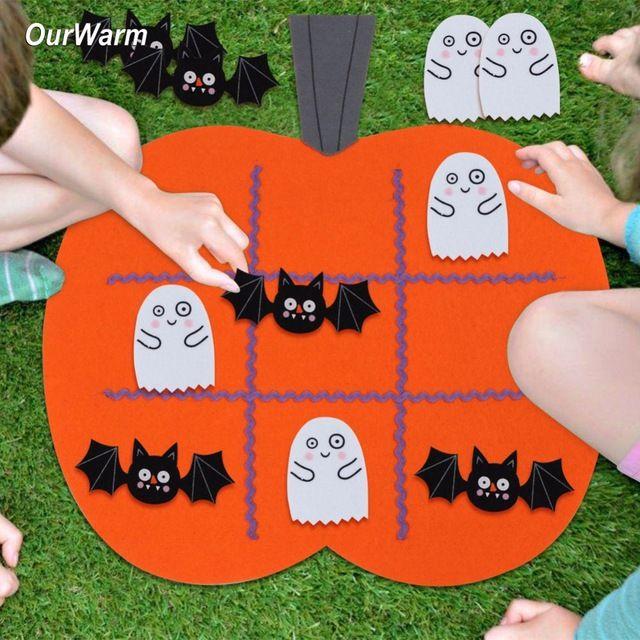 Ourwarm 1 pc Feutre Halloween Citrouille Tic Tac Toe Jeu Protable 45x43 cm Halloween Kid Éducation Jeux de Fête Articles de fête